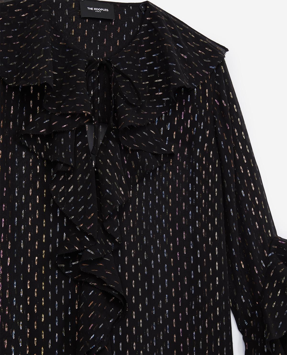 f1dbeedf02b14 Lyst - The Kooples Black Lurex And Silk Shirt in Black