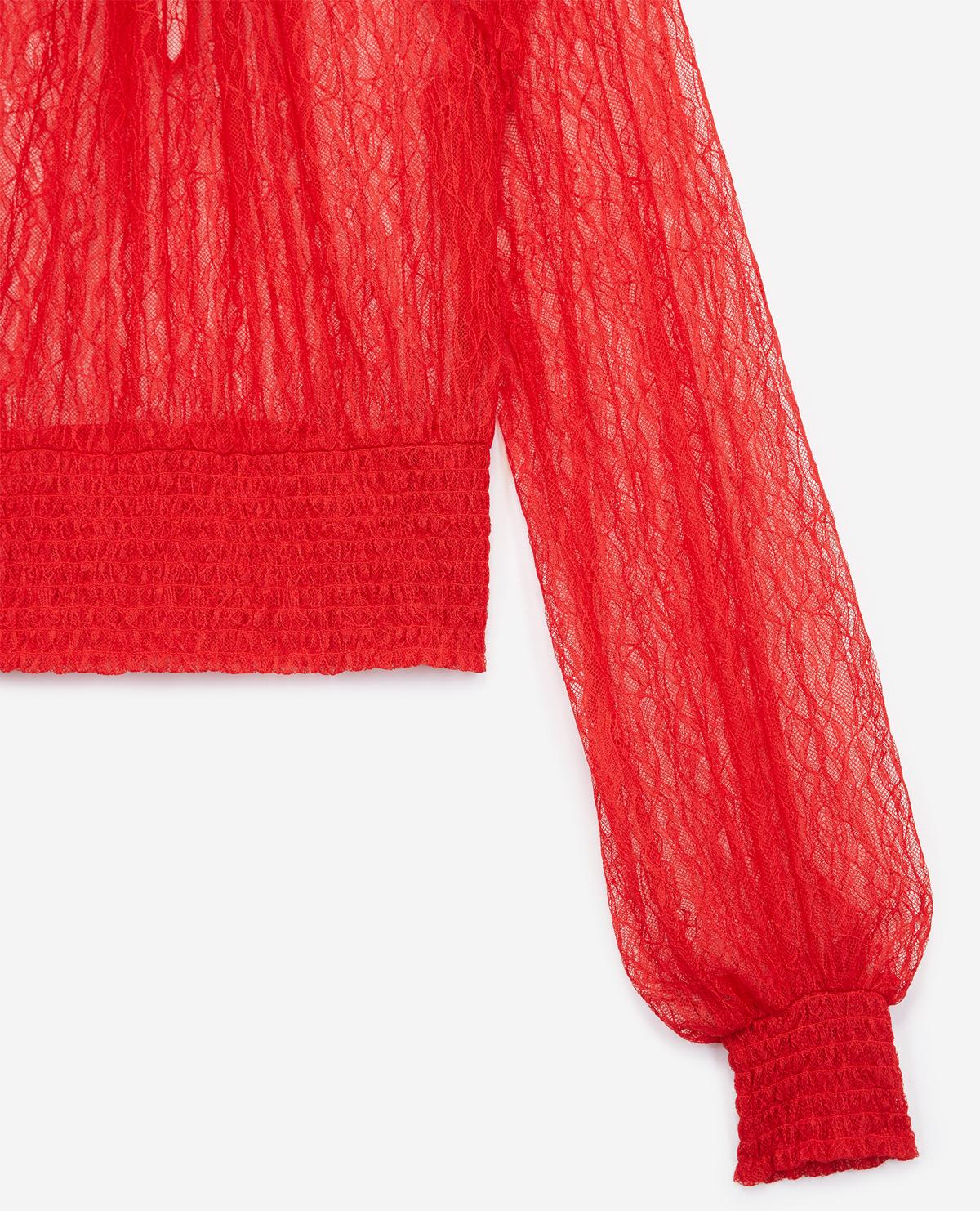 Top de encaje rojo cuello alto con lazo The Kooples de Encaje de color Rojo