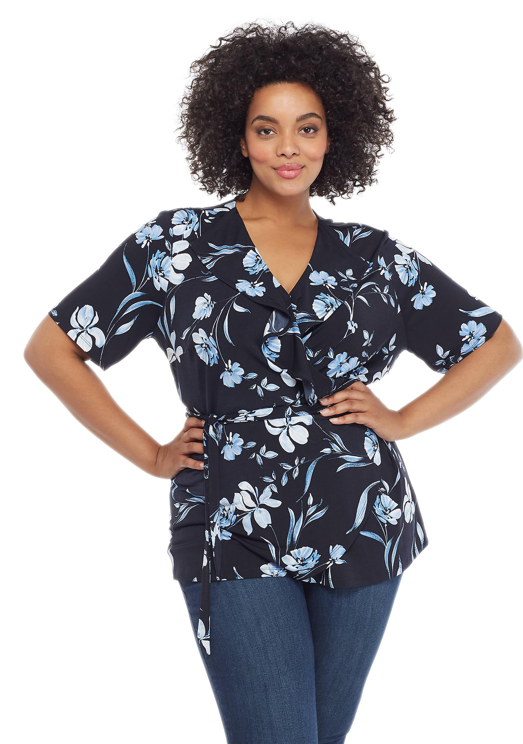 2a0dec3466 The Limited Plus Size Ruffle Surplice Tie Waist Blouse in Blue - Lyst