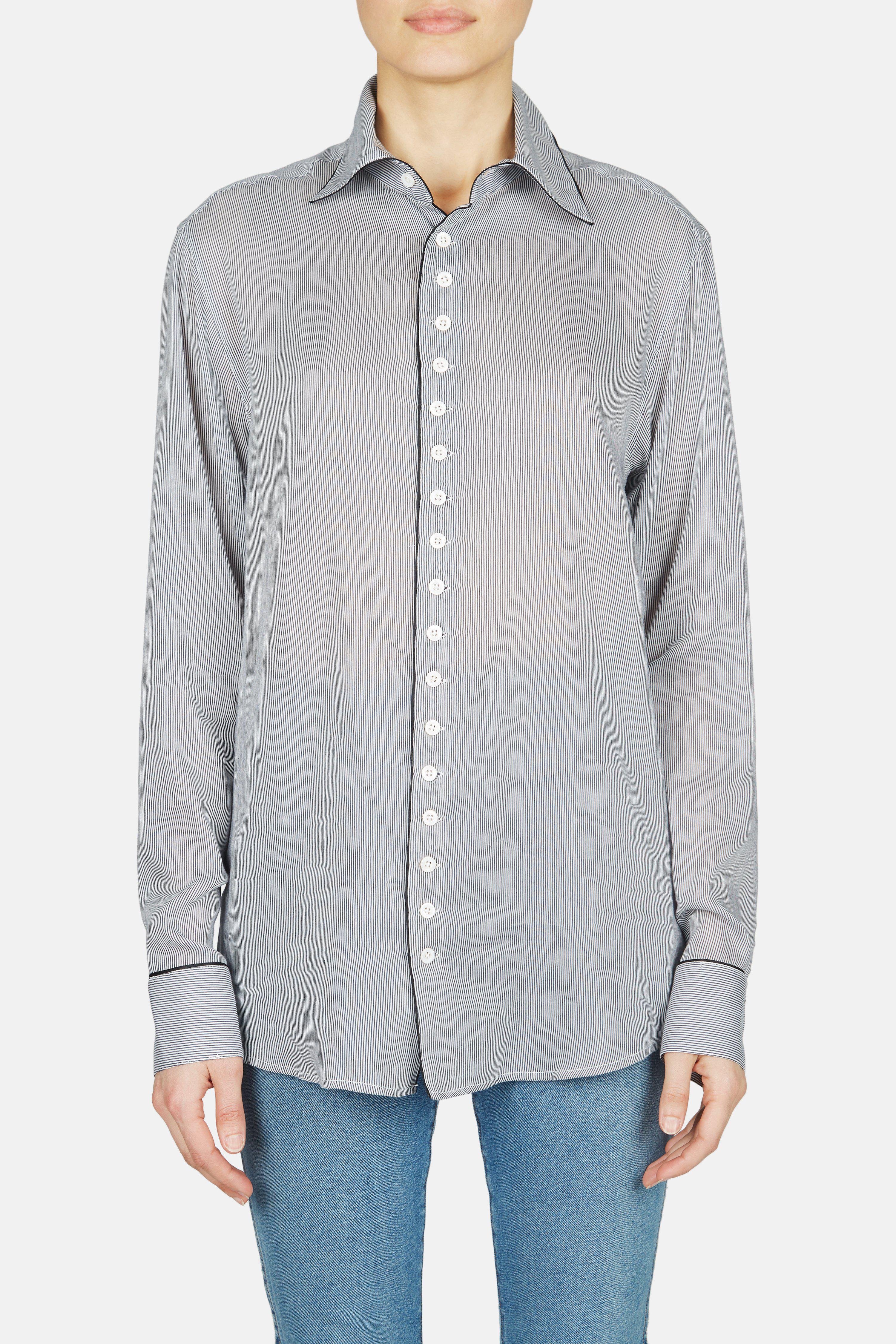Lyst - Kiki de Montparnasse Cotton Striped Boyfriend Shirt in Gray 8ac2ef742