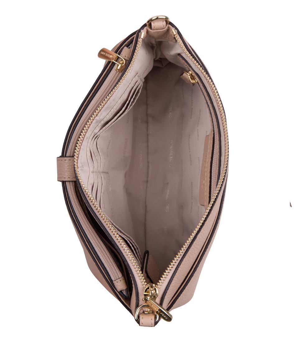 Michael Kors Leather Mercer Large Snap Pocket Crossbody in Beige (Natural)