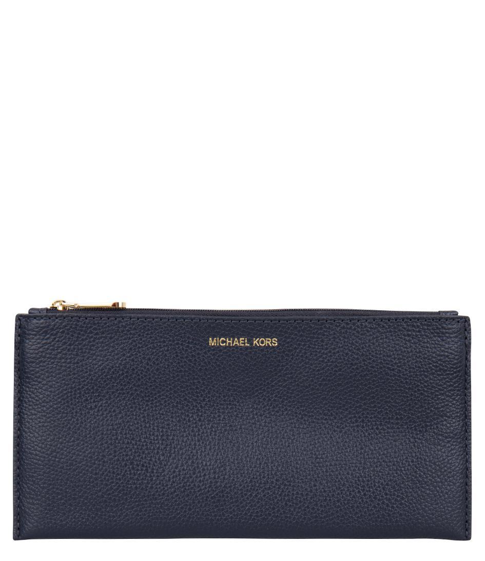 Michael Kors Leather Mercer Large Snap Pocket Crossbody in Blue