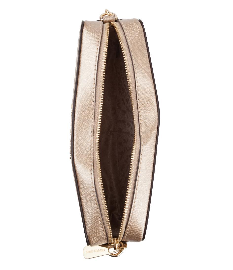 Michael Kors Leather Jet Set Travel Medium Ew Crossbody in Gold (Metallic)