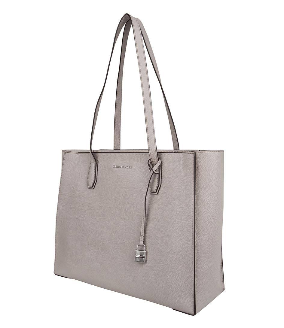 Michael Kors Leather Mercer Large Tote in Grey (Grey)