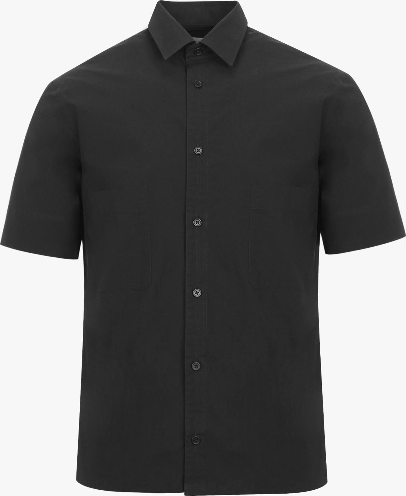 Lemaire short sleeve straight collar shirt in black for Straight collar dress shirt