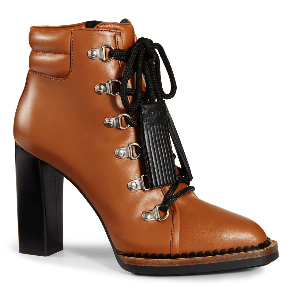 tod s lace up ankle boots in leather in brown lyst