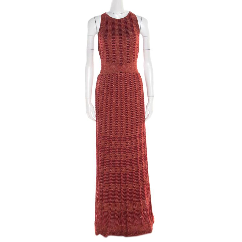 a77a1503519 M Missoni. Women s Red Lurex Perforated Knit Cutout Back Detail Maxi Dress S