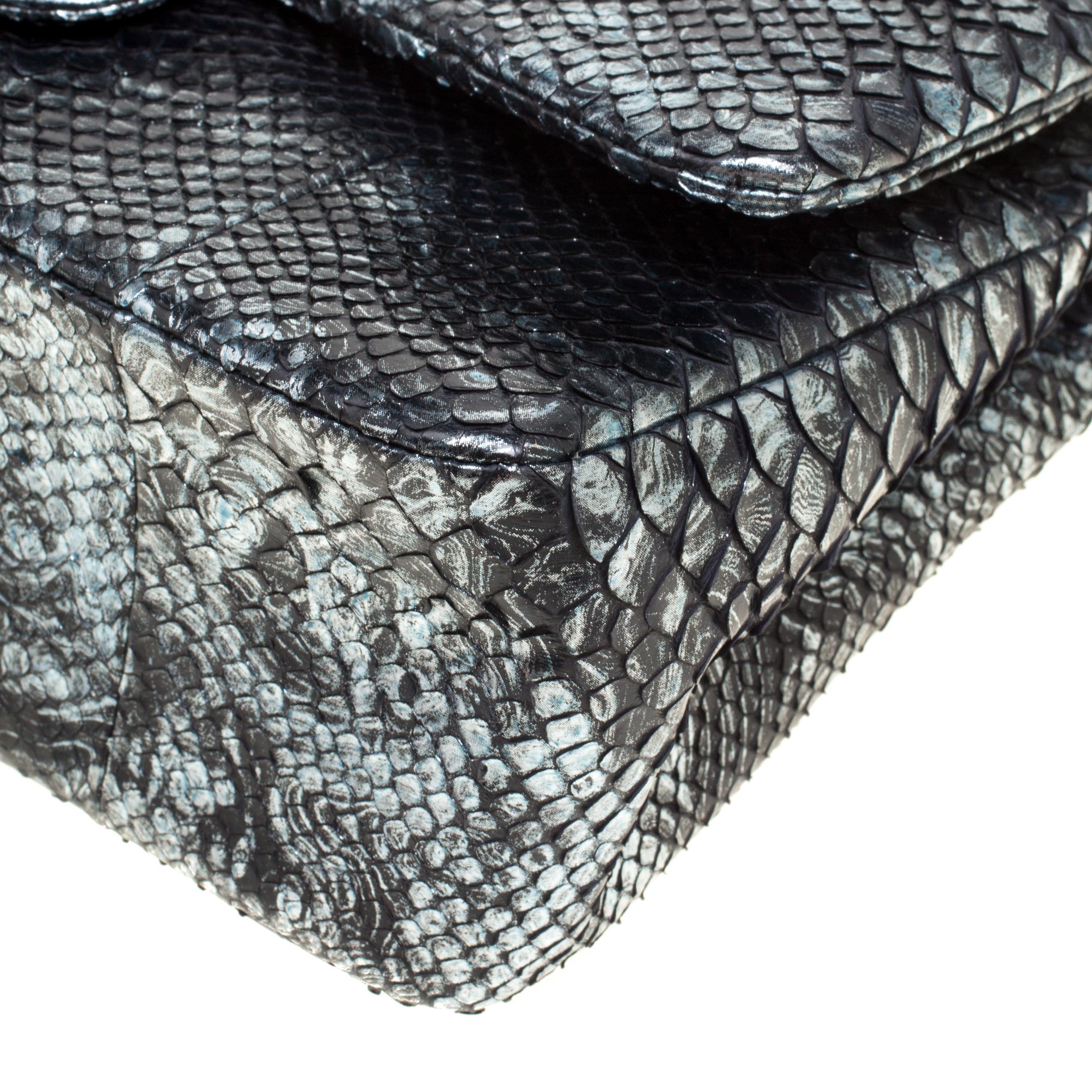 b8bb4dca7760 Lyst - Chanel Aquamarine Black Python Jumbo Classic Double Flap Bag ...