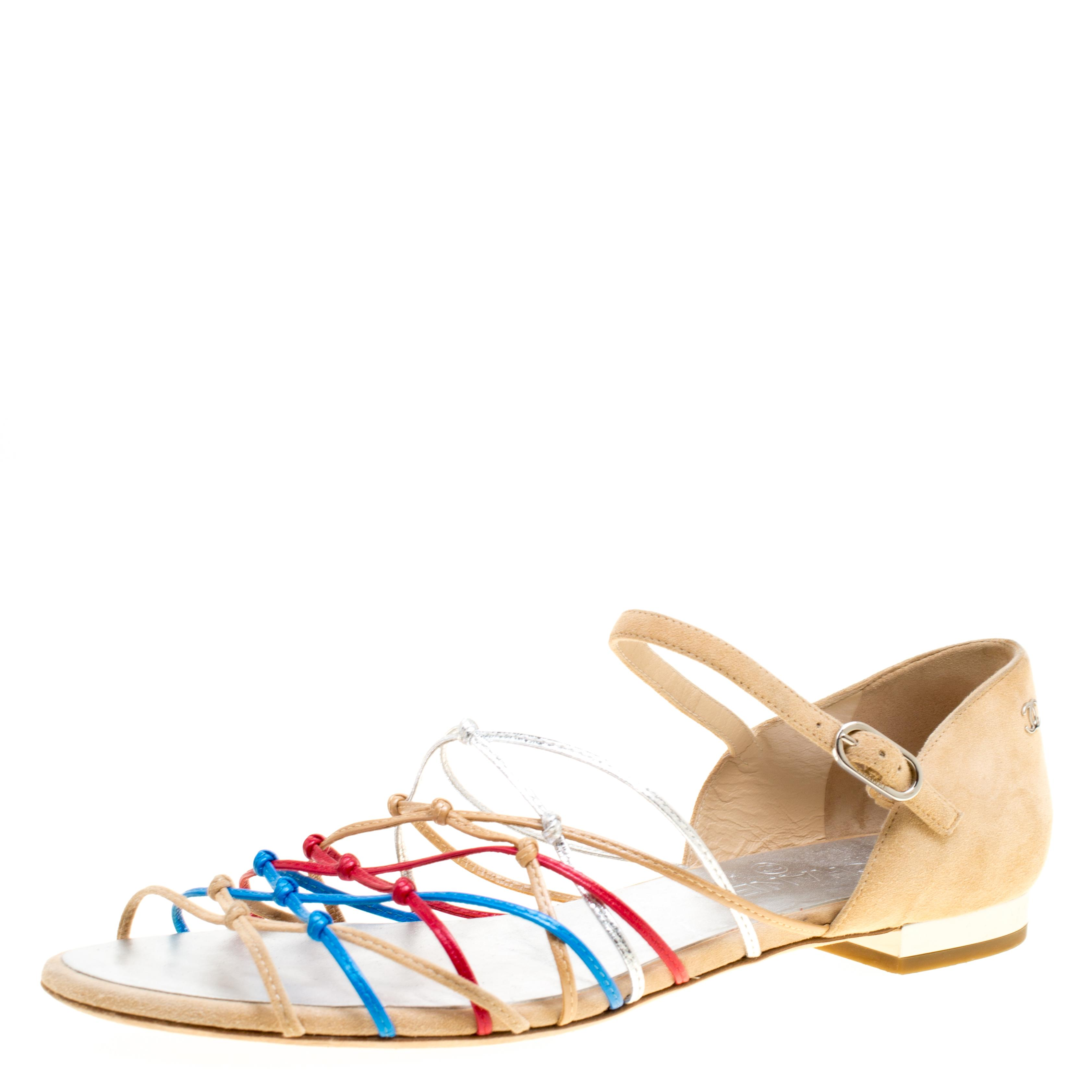 b05979130d23 Chanel. Women s Multicolor Leather And Suede Knot Detail Flat Sandals Size  41