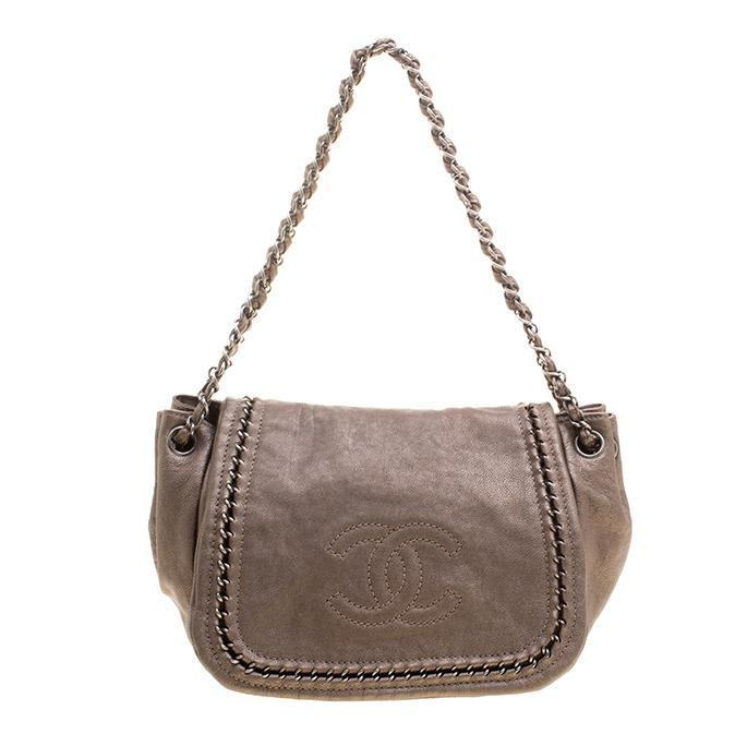 a946832966e5 Chanel. Women's Metallic Bronze Leather Luxe Ligne Accordion Flap Bag