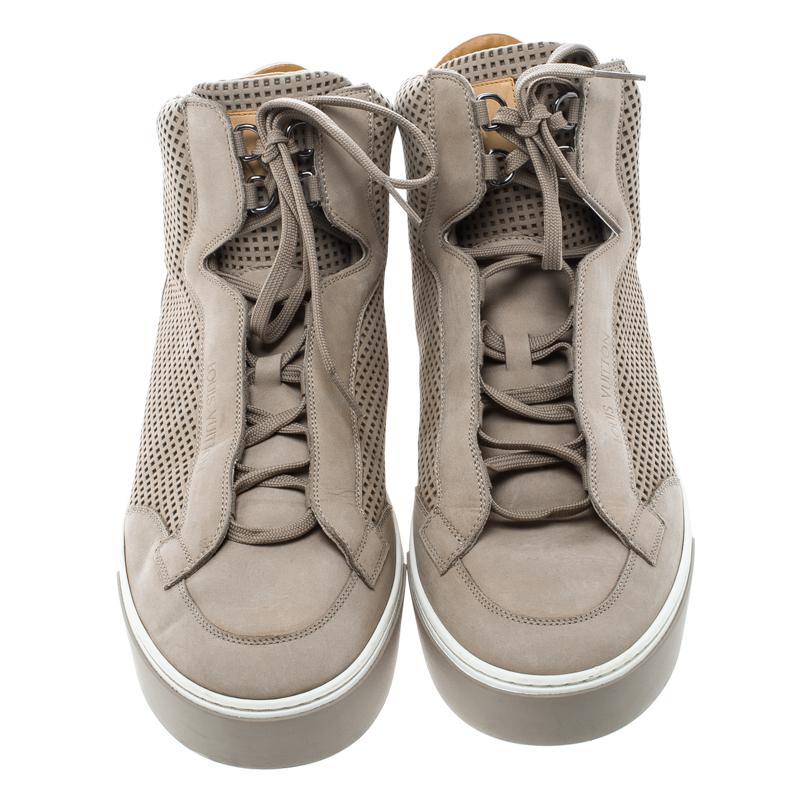 65812ca89b6 Men's Natural Perforated Nubuck Speaker High Top Sneakers
