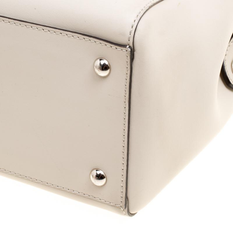 17e635663a0 Fendi - Natural Off White Leather Dotcom Top Handle Bag - Lyst. View  fullscreen