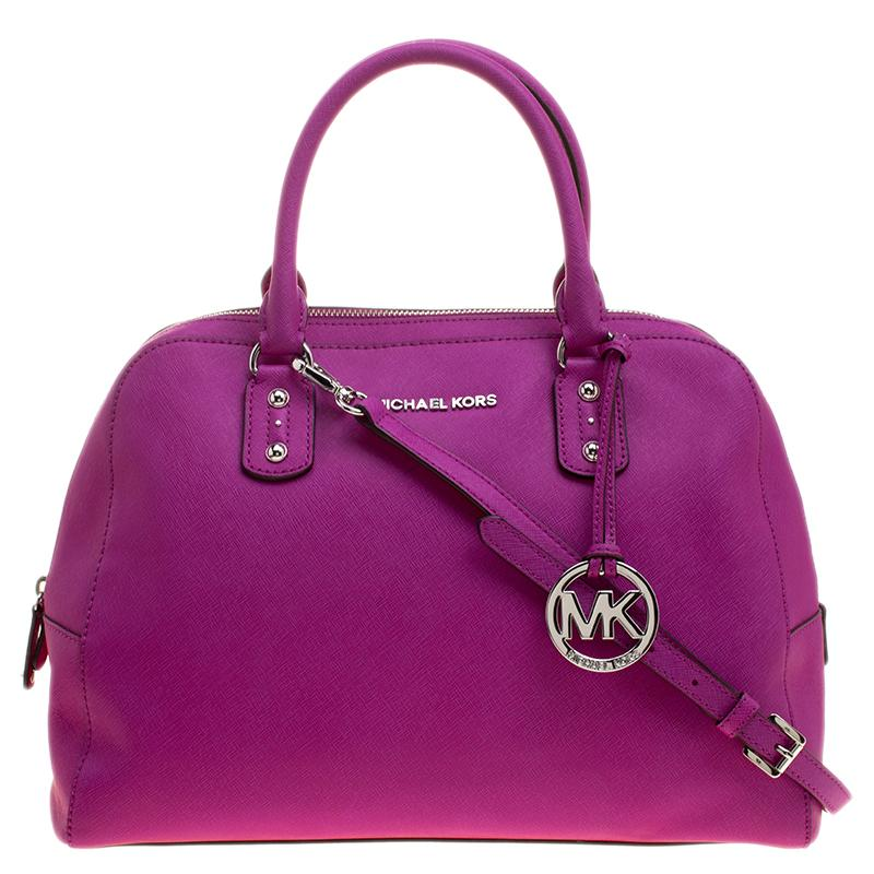 f571f2ae49ba79 Lyst - MICHAEL Michael Kors Pink Saffiano Leather Satchel in Pink