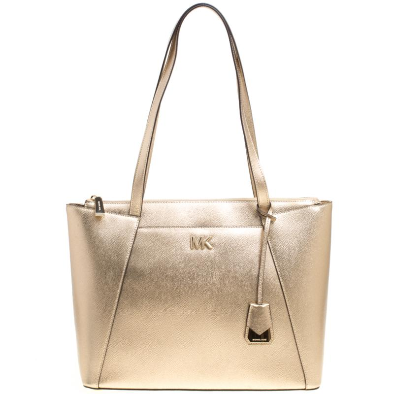 a3559e21f164 Michael Kors. Women's Metallic Light Gold Leather Maddie East West Top Zip  Tote