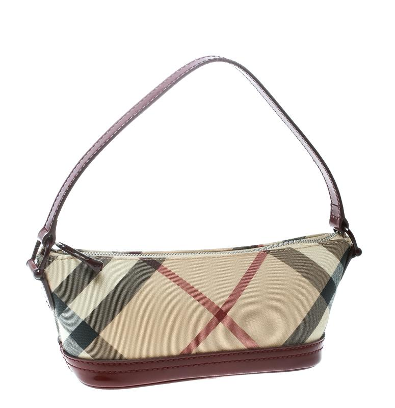 974def203d Burberry Beige/ Nova Check Canvas And Patent Leather Pochette in Red ...