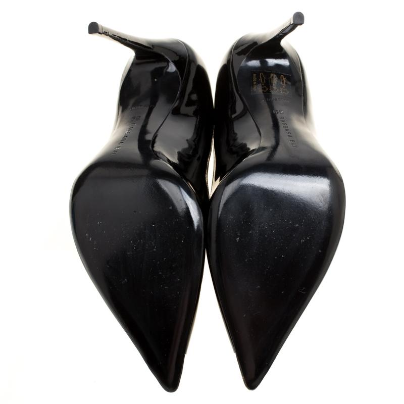 Black Patent Leather Metal Pointed Toe Pumps Size 39
