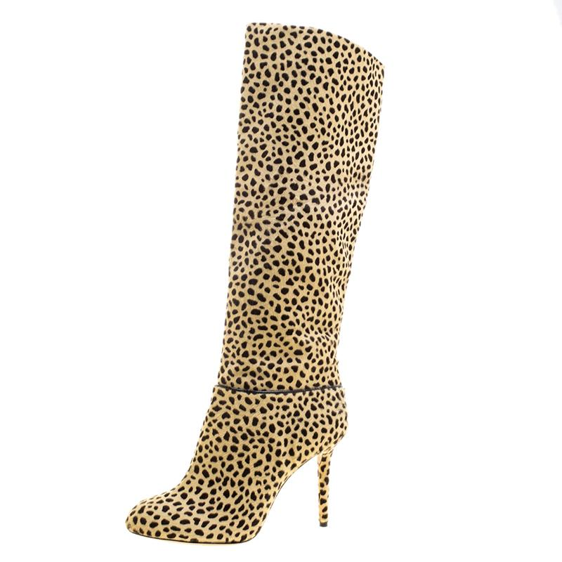 13ec032c62068 Charlotte Olympia. Women's Natural Beige Leopard Print Pony Hair Corine  Knee High Boots Size 35