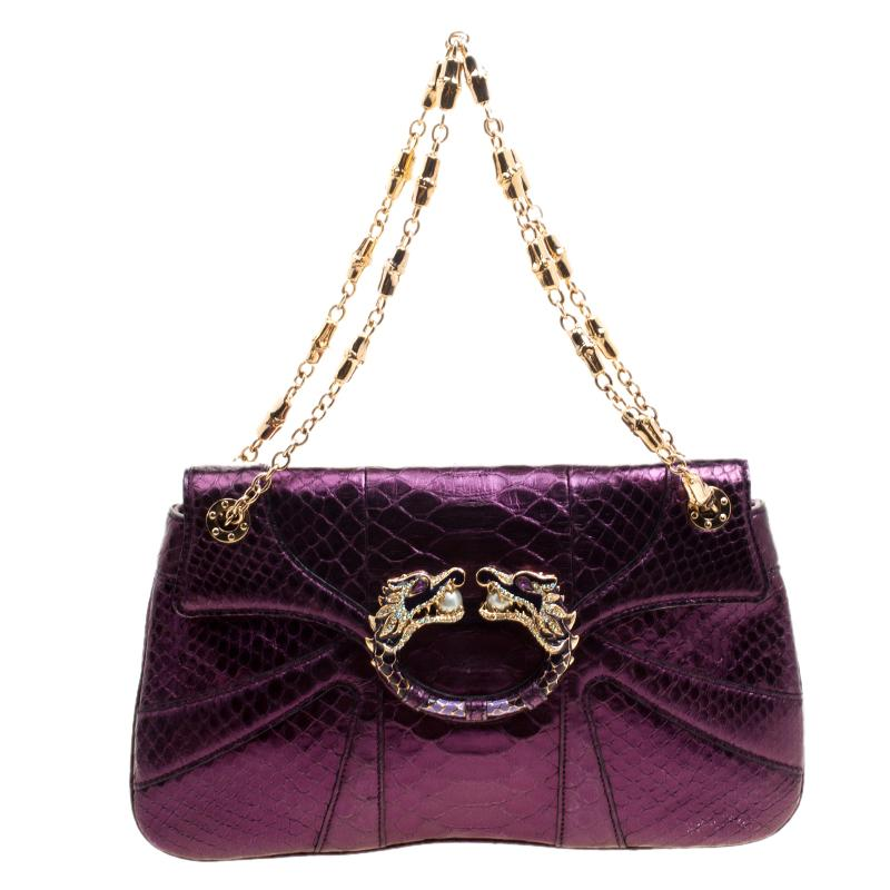 951d94c34c0 Lyst - Gucci Python Tom Ford Jeweled Dragon Chain Clutch in Purple