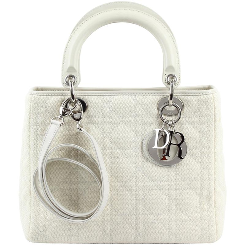 Dior Cannage Quilted Fabric Medium Lady Tote in White - Lyst 2027f943b3