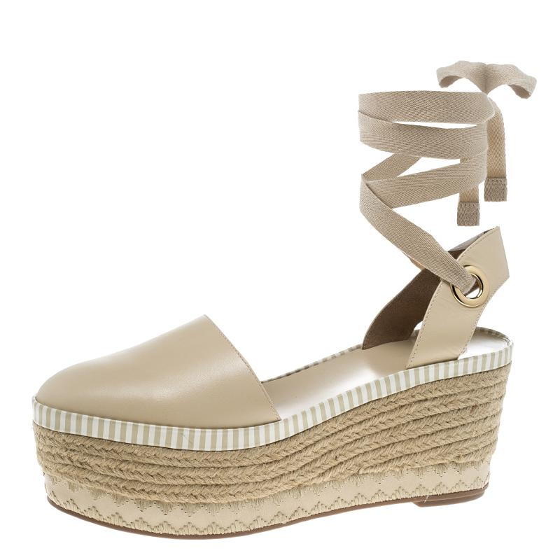 bc01b23856b4 Tory Burch. Women s Natural Leather Dandy Ankle Wrap Espadrille Wedge  Sandals