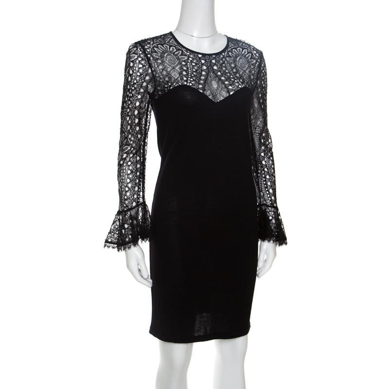 2811033e2624 Emilio Pucci - Black Lace Bodice Detail Wool Dress S - Lyst. View fullscreen