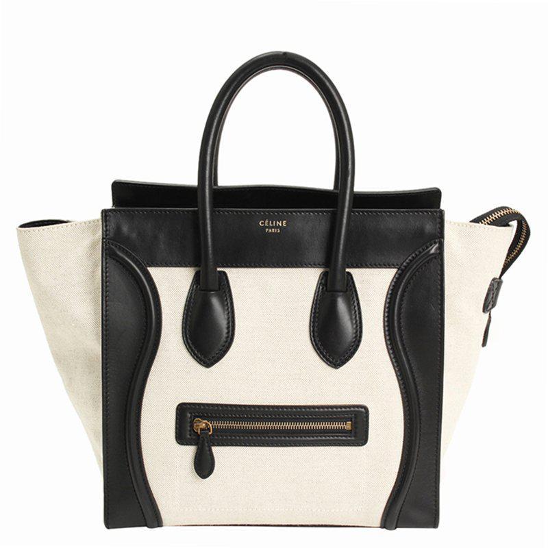 7a8623eda1 Céline - Black Bicolor Leather Mini Luggage Tote Bag - Lyst. View fullscreen
