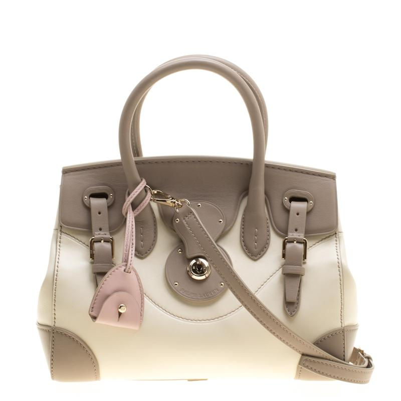 b69134ffeb ... greece ralph lauren taupe off white leather ricky top handle bag lyst  2ffcf 96713