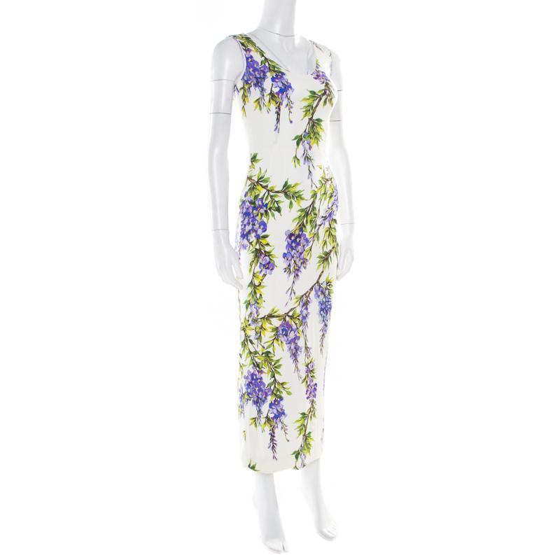 90961b20 ... Dolce & Gabbana Off White Wisteria Printed Silk Charmeuse Sleeveless  Sheath Dress. View fullscreen