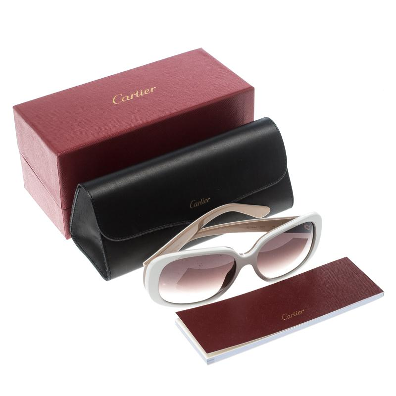 36cd4c607af8 Lyst - Cartier Beige  Gradient Solaire Oversize Sunglasses in Brown