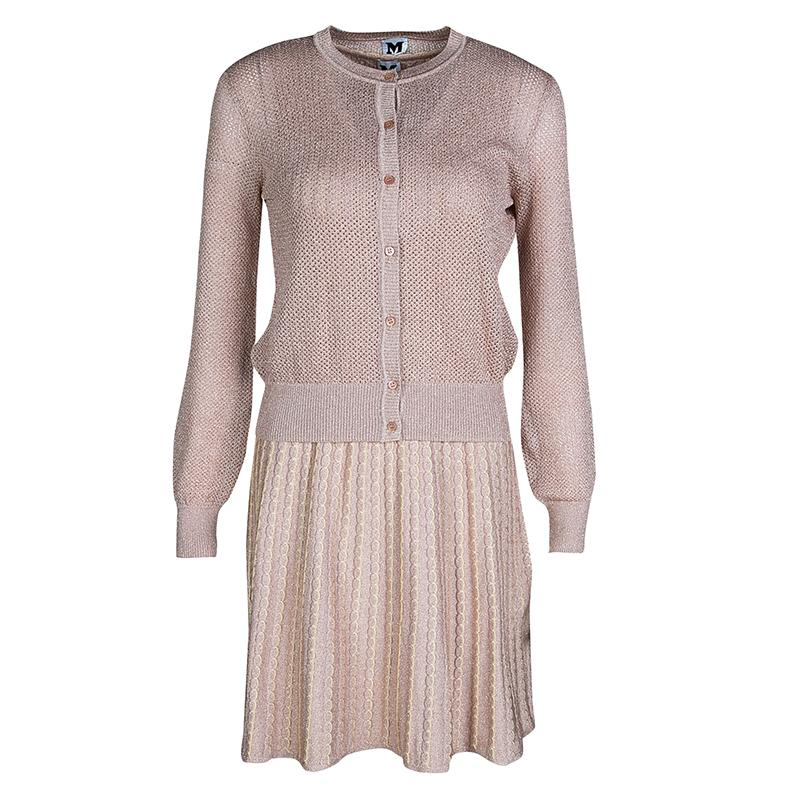 81a66b586b5 M Missoni. Women s Blush Pink Lurex Knit Patterned Dress And Perforated ...