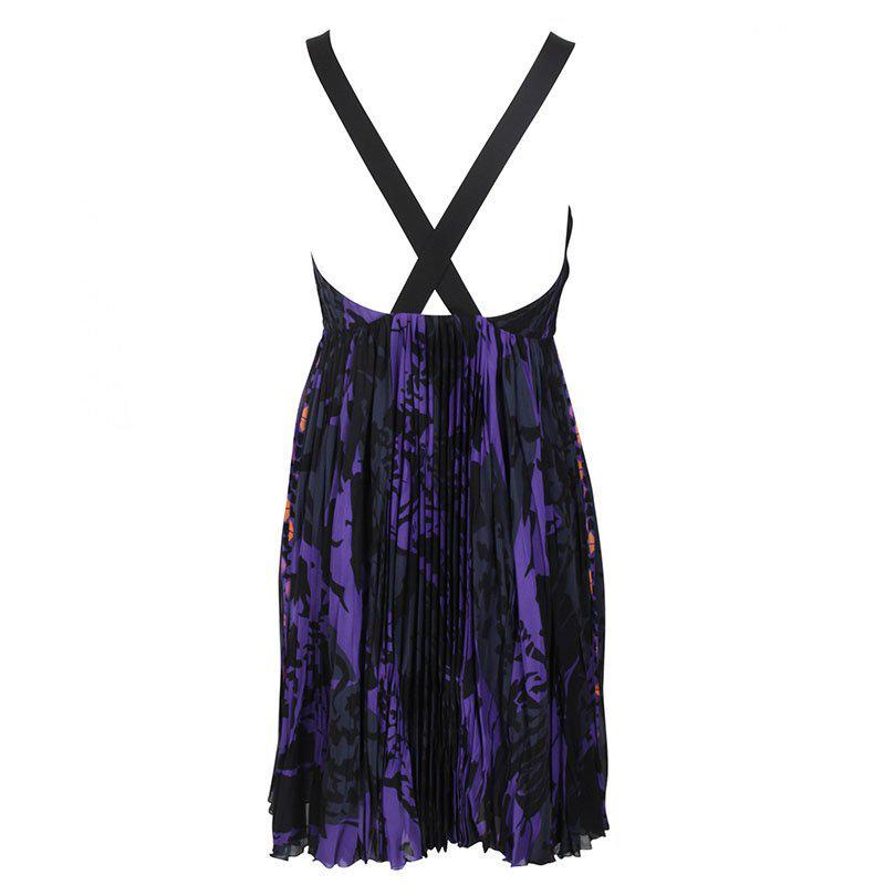 Emilio Pucci Silk Printed Cross Back Dress S in Purple