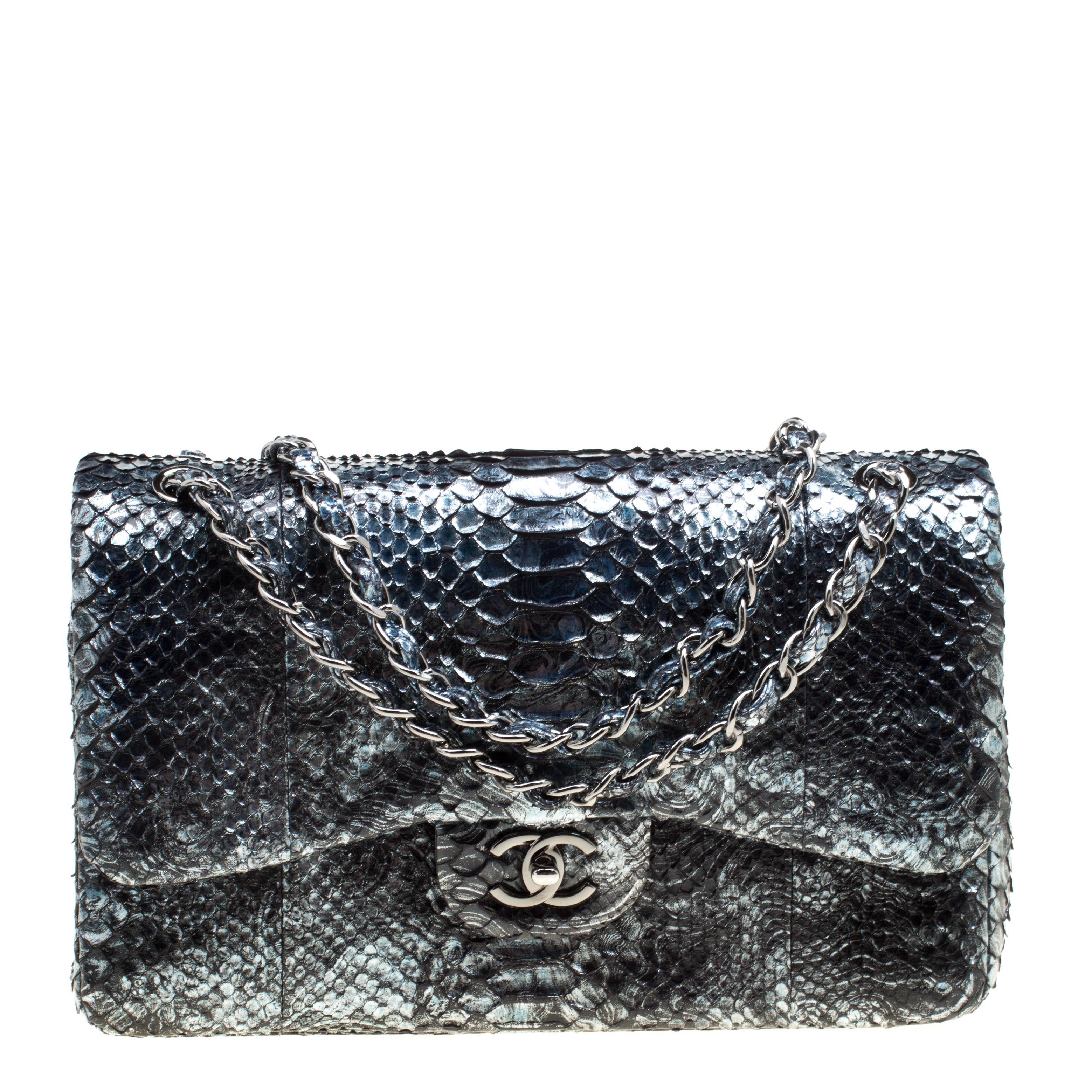 9b837e316f8a Chanel. Women's Metallic Aquamarine Black Python Jumbo Classic Double Flap  Bag