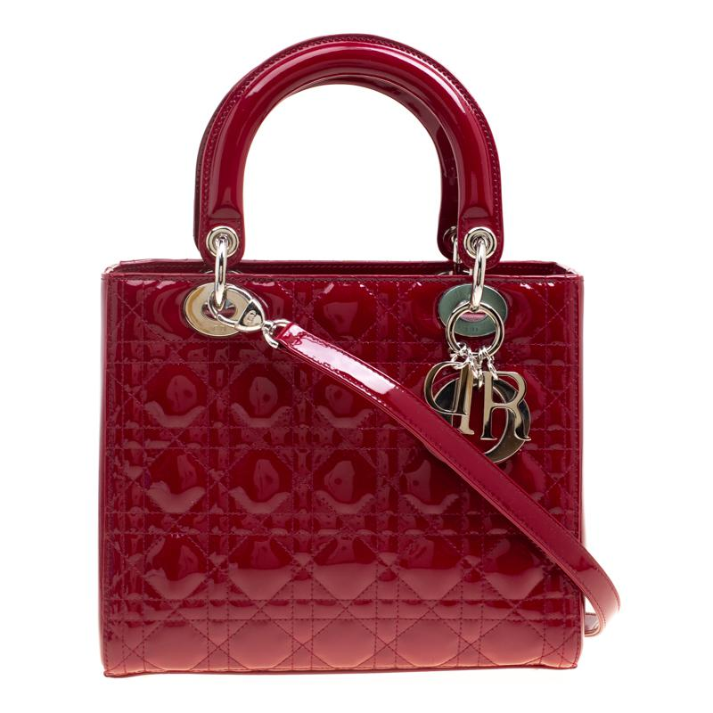 0bb509e60a72 Dior Patent Leather Medium Lady Tote in Red - Lyst