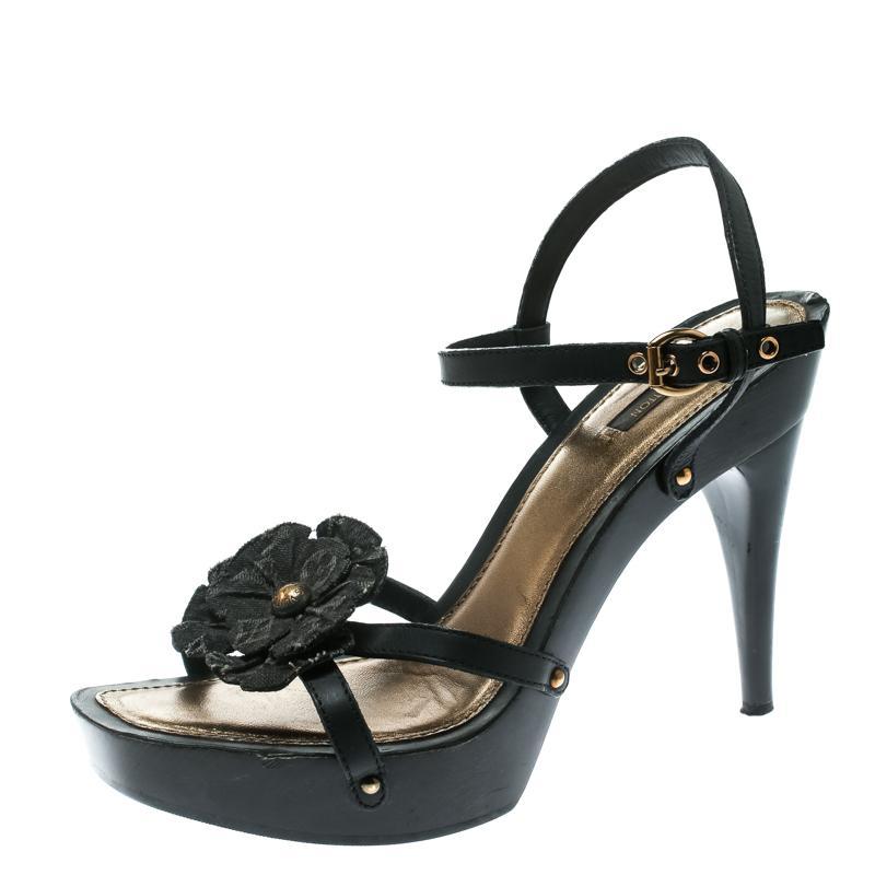 7b4d09da99c3 Louis Vuitton. Women s Black Monogram Canvas And Leather Freesia Ankle Strap  Platform Sandals