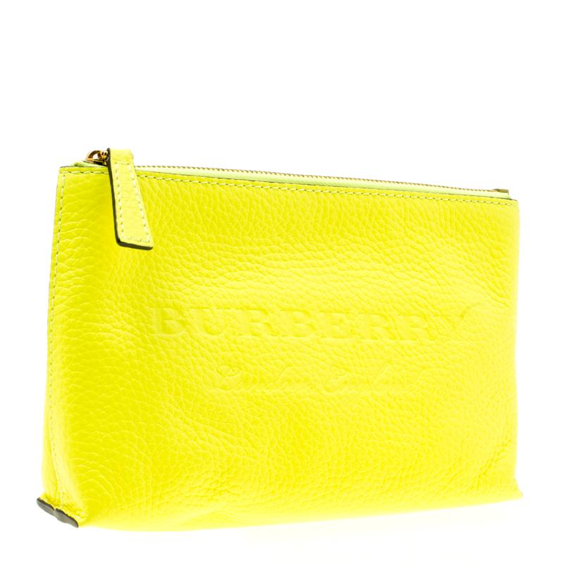 1682b108de51 Lyst - Burberry Neon Yellow Leather Medium Duncan Zip Pouch in Yellow