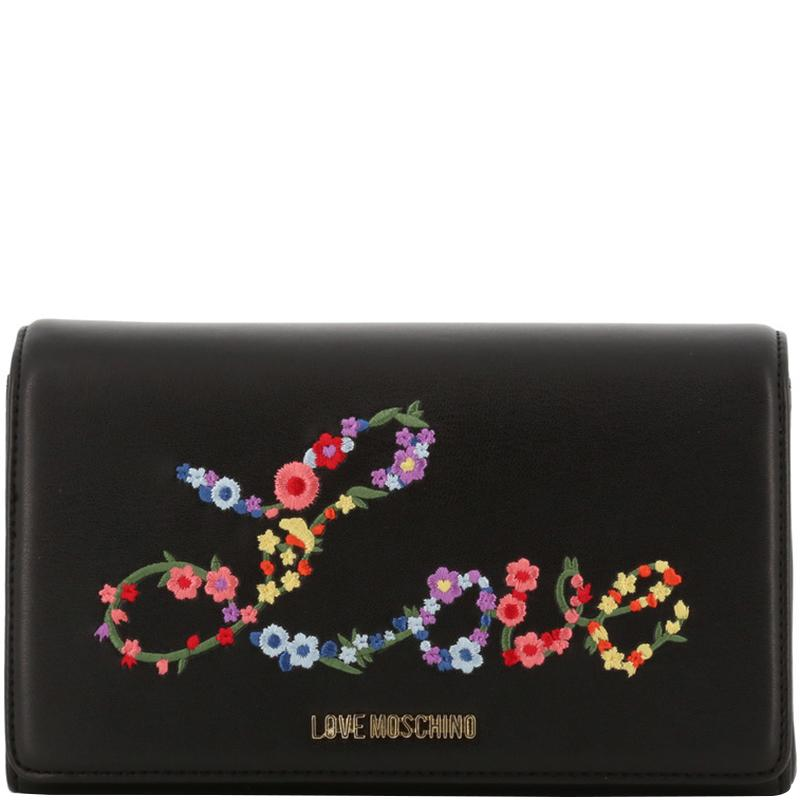 f37024afd41 Moschino. Women's Love Black Faux Leather Embroidered Woc Crossbody Bag