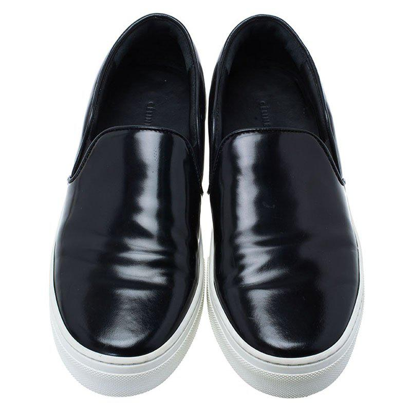 Celine Leather Patent Slip On Sneakers in Black