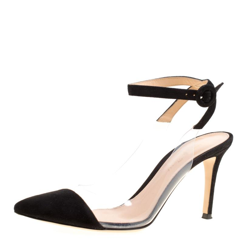 9311205376b Gianvito Rossi. Women s Black Suede And Pvc Ankle Strap Pointed Toe  Slingback Sandals