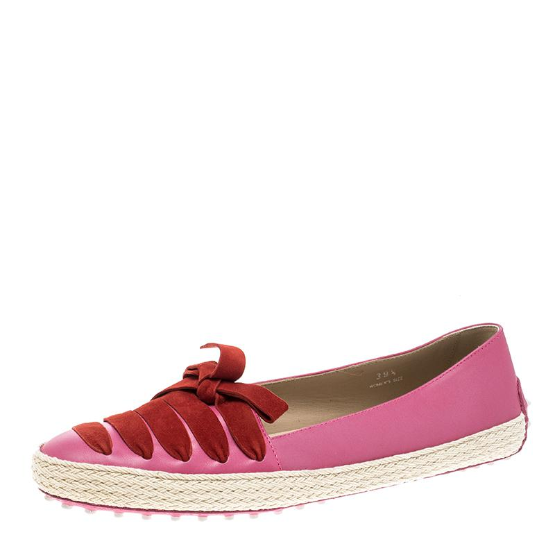 acca8159fae Tod s Leather And Suede Ribbon Espadrille Loafers in Pink - Lyst