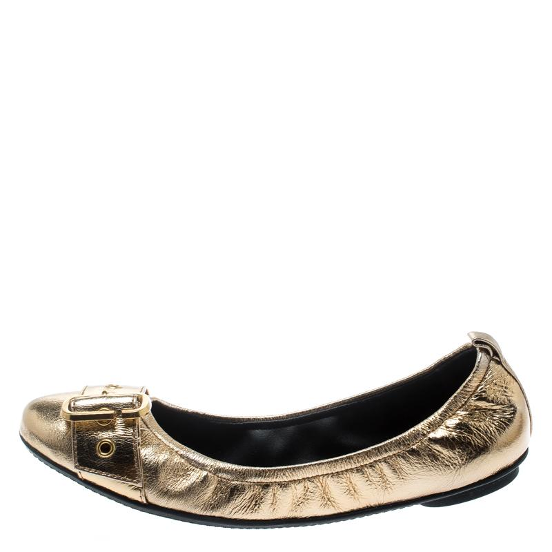 Marc Jacobs Metallic Gold Leather Dolly Buckle Detail Scrunch Ballerina Flats Size 37