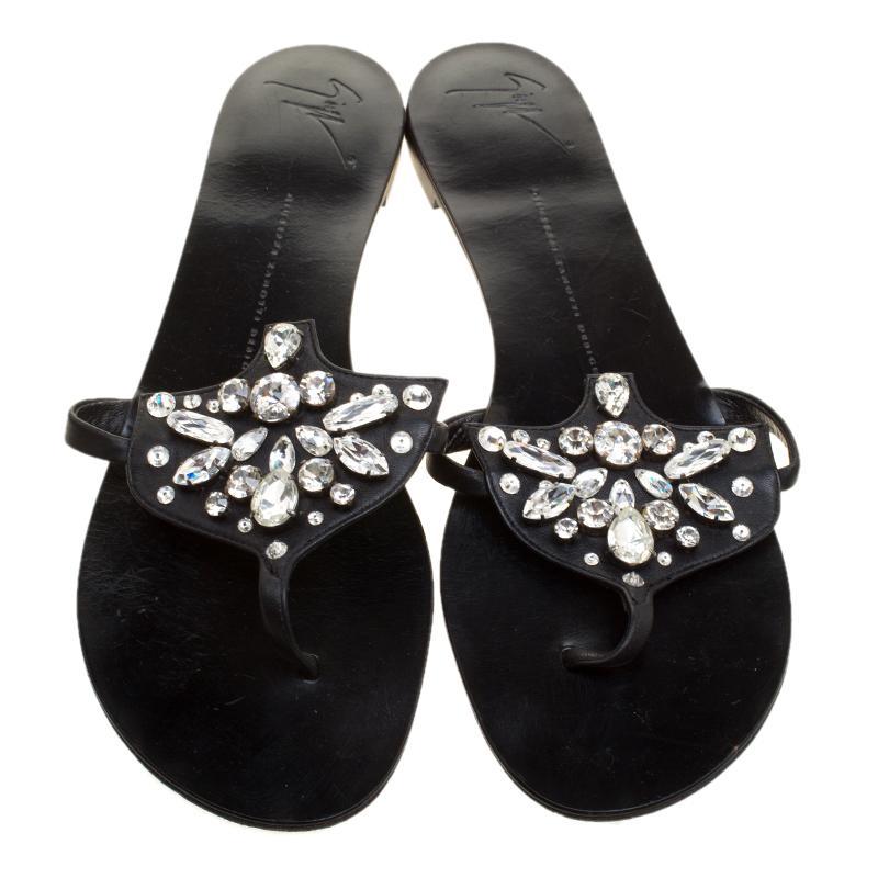 e1e79cdfdfad Giuseppe Zanotti - Black Leather Crystal Embellished Flat Sandals Size 42 -  Lyst. View fullscreen