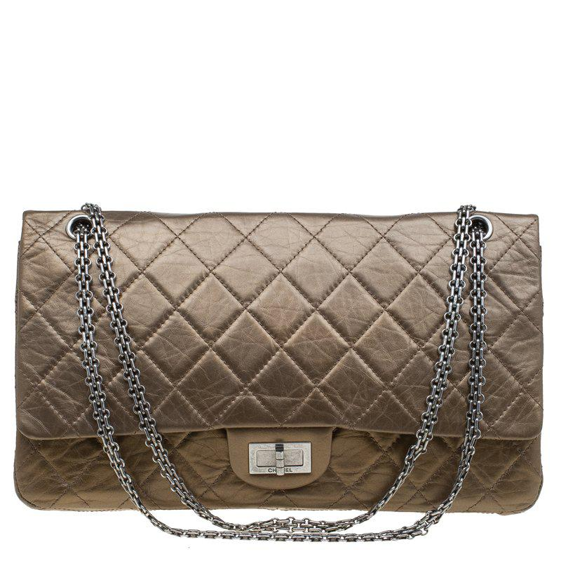 642c7472c176e Chanel Bronze Quilted Leather 2.55 Reissue Classic 227 Flap Bag in ...