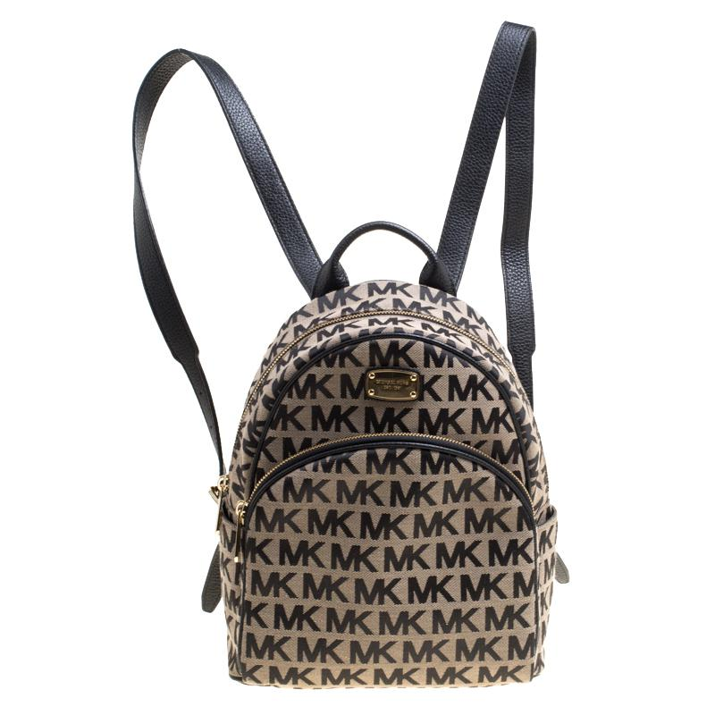 96312372035f Michael Kors Beige black Signature Canvas And Leather Abbey Backpack ...