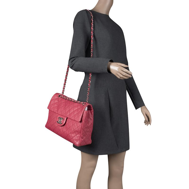 3bf466559038 Chanel - Red Quilted Leather Maxi Jumbo Xl Classic Flap Bag - Lyst. View  fullscreen