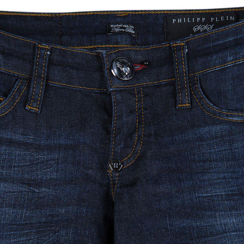 Philipp Plein Indigo Dark Wash Distressed Denim Tartan Skull Embellished Skinny Jeans S in Blue