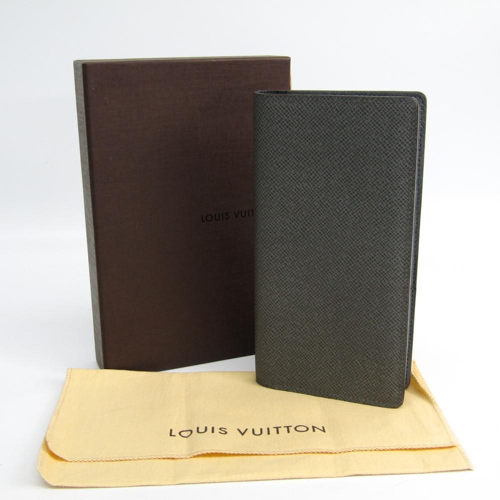 3b3d8609946 Louis Vuitton Black Glacier Taiga Leather Brazza Wallet for men