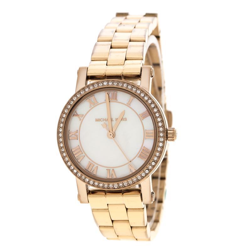 4d41fd45bf8c Michael Kors. Metallic White Mother Of Pearl Rose Plated Steel Petite Norie  Mk3558 Women s Wristwatch 28 Mm