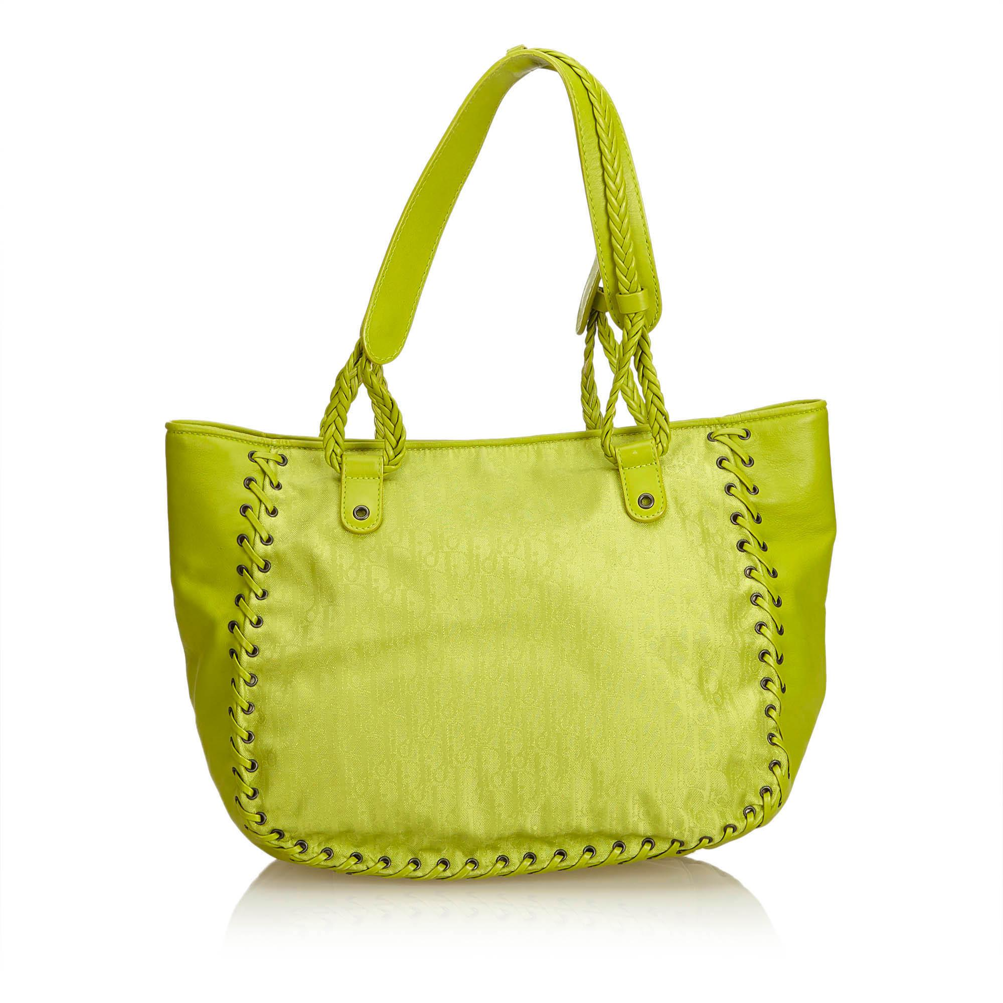 ea10ad31537c Lyst - Dior Jacquard Canvas And Leather Oblique Tote in Green