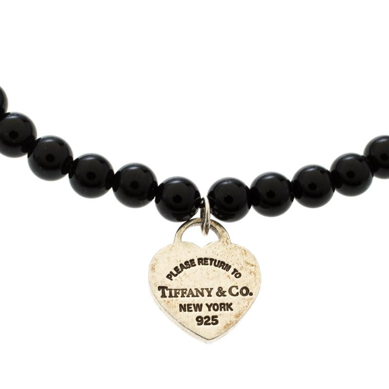 882251aa7 Tiffany & Co. Return To Tiffany Silver Heart Tag Onyx Bead Bracelet ...