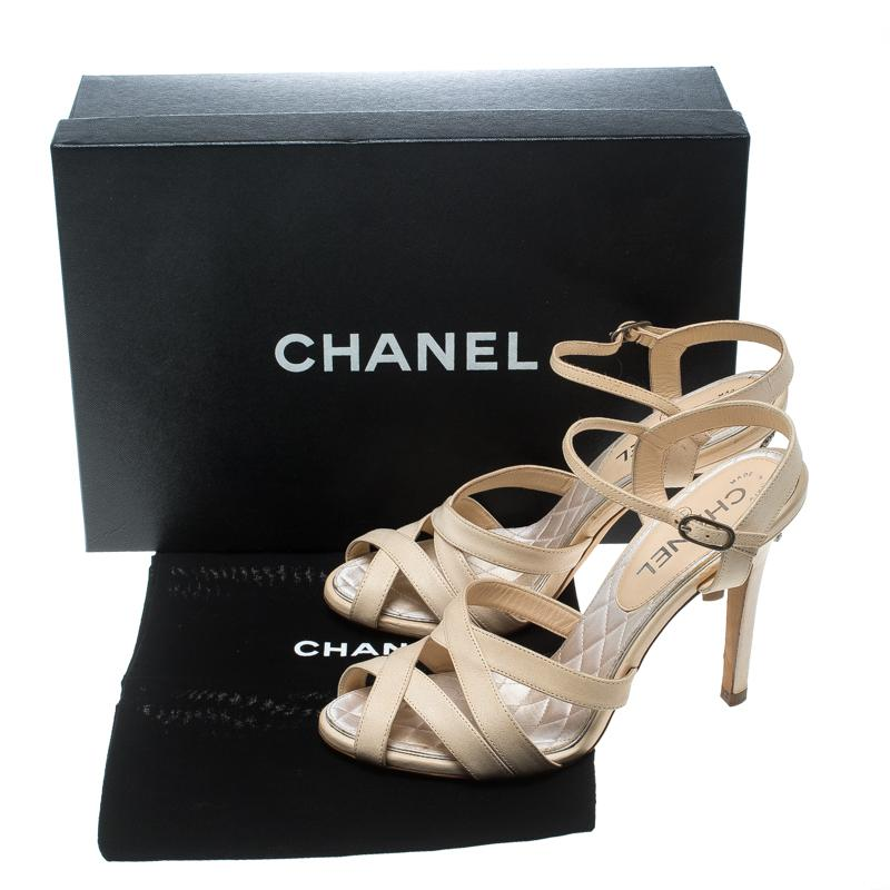 5910f46dc935 Lyst - Chanel Leather Cross Strap Peep Toe Embellished Cc Sandals in ...